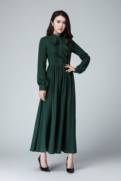 3af3bf5aab Green dress shirt dress maxi dress linen dress long sleeve