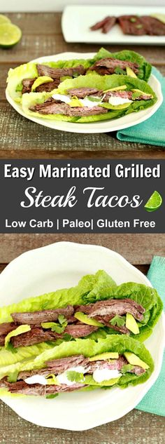 Easy Marinated Grilled Steak Tacos, grain free, paleo and low carb