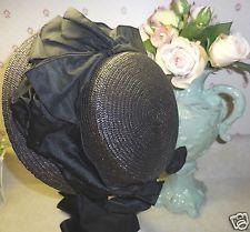 Antique Victorian Ladies straw Hat Bonnet Civil War Era great lg. bows~ shirring