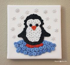 Penguin crafts are great to do especially during the Christmas season as penguins live in cold and snowy environments. Take a look at these cute christmas penguin crafts which give the holidays a personal touch. Hobbies And Crafts, Crafts To Make, Fun Crafts, Crafts For Kids, Button Art On Canvas, Repeat Crafter Me, Penguin Craft, Button Picture, Cute Penguins