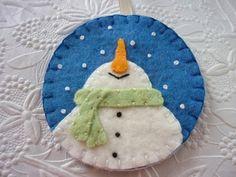 Felt Snowman Ornament Felted Wool Felt by pennysbykristie on Etsy, $14.00