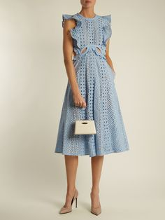 Click here to buy Self-portrait Ruffled cut-out broderie-anglaise cotton dress at MATCHESFASHION.COM