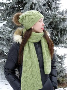 Super soft and warm hat and scarf in pistachio will make beautiful winter  accessories for your 65c28fe9979