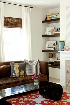 Love this idea for built in shelves next to the fireplace.