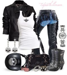 Harley Davidson outfit my style Biker Chick Outfit, Biker Chick Style, Biker Outfits, Motorcycle Style, Motorcycle Outfit, Motorcycle Fashion, Motorcycle Tips, Women Motorcycle, Motorcycle Garage
