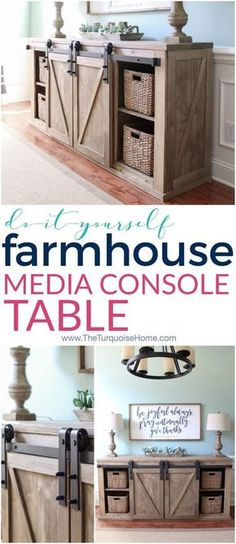 DIY Farmhouse Media Console Table all the plans to make it yourself sliding barn door weathered stain Old Barn Milk Paint Diy Tv, Farmhouse Side Table, Farmhouse Decor, Rustic Furniture, Diy Furniture, Furniture Plans, Steel Furniture, Handmade Furniture, Antique Furniture