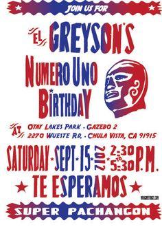 Mexican lucha libre bday party- Lucha Libre Design Invitation. $15.00, via Etsy.