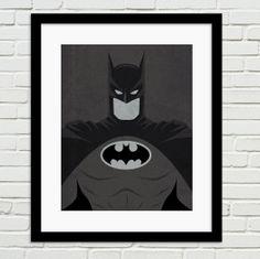 "DC Comic Store Superheroes Minimalist ""Batman"" Art Poster - Black and White Home Decor Wall Art DC Universe on Etsy, $5.00"