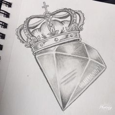 Diamond and crown sketch #art