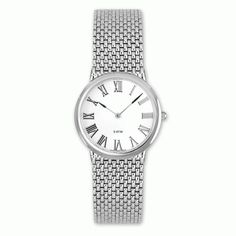 need a watch we carry belair watches swiss made parts mens stainless steel watch a mesh style band and a white dial featuring r numerals