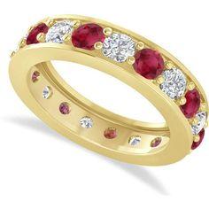 Allurez Diamond & Ruby Eternity Wedding Band 14k Yellow Gold (2.85ct) ($3,670) ❤