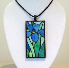 Stained glass Tiffany iris mosaic necklace by ShellyHeissDesigns