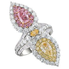 David Mor Statement Ring with Fancy Pink and Fancy Yellow Diamonds