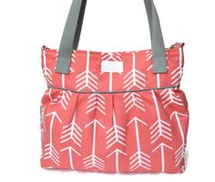 Coral Arrow Large Diaper Bag  - Stroller Bag - Bags and Purses - Baby Bag SKU: DB001AWB FREE SHIPPING by PreciousLittleTot on Etsy https://www.etsy.com/listing/235952193/coral-arrow-large-diaper-bag-stroller