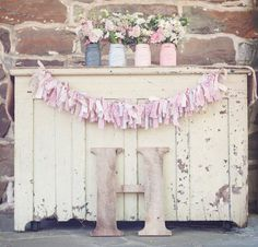 Shabby Chic Fabric Banner Rustic Wedding Decor- Pinks, Creams, and Lace on Etsy, $26.50