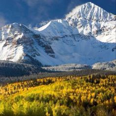 This is perfect - the colors of autumn in the trees still covered with leaves and the stark white of the snow covered mountains.  Beautiful!
