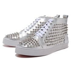 Chaussure Louboutin Pas Cher Homme Argent Rivet #redbottomshoes