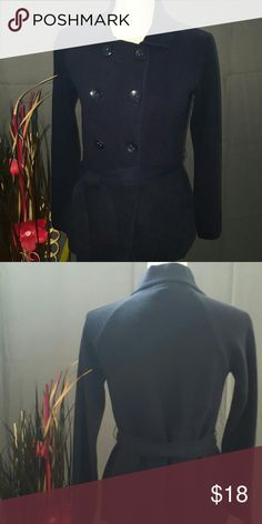 Ann Taylor Button Down Belted Sweater , Navy Very classy button down sweater coat that ties around the midsection. 100% Cotton Ann Taylor Sweaters