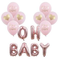 Baby Shower Roses, Baby Shower Sweets, Baby Shower Themes, Baby Balloon, Balloon Banner, Balloon Decorations, Rose Gold Letter Balloons, Gender Reveal Balloons, Its A Girl Balloons