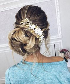 This gorgeous updo wedding hairstyle will inspire you - Fab Mood | Wedding Colours, Wedding Themes, Wedding colour palettes