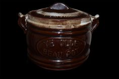 "Brown & Cream colored Crock ""Ye Olde Bean Pot"" Small Sized"