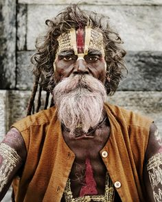 A beautifully marked Sadhu. Sadhus are wandering monks who are dedicated to their religion. They are committed to achieving moska, or liberating themselves from the cycle of reincarnation.