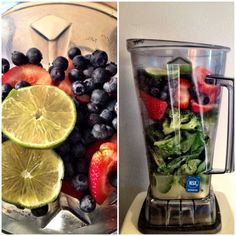 post workout fuel: coconut water, banana, spinach, broccoli, strawberries, blueberries, lime and VEGA Sport Performance Protein shake.