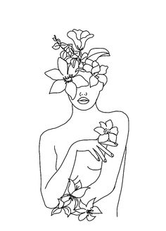 Minimal Line Art Woman with Flowers Mini Art Print by Line Drawing, Drawing Sketches, Modern Drawing, Arte Sketchbook, Minimalist Art, Easy Drawings, Doodle Art, Female Art, Art Inspo