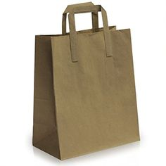 20 Brown Kraft SOS Takeaway Paper Bags with Flat Handles 25cm x 30cm + 14cm Ideal for Party Gift Shopping Merchandise Retail Grocery Bags -- Awesome products selected by Anna Churchill