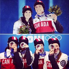 Tessa Virtue & Scott Moir and the Women's 3000m short track relay team received their silver medals at today's medal ceremony.  CBC Olympics Sochi 2014
