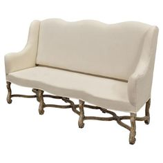 Bourgogne French Country White Upholstered High Back Bench French Country Furniture, French Country Bedrooms, Farmhouse Furniture, French Country Decorating, Bedroom Furniture, Furniture Design, Small Daybed, High Back Bench, Furniture Deals