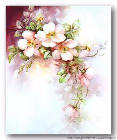 Pink Wild Roses China Painting Study by Sonie Ames 1967 Art Floral, Floral Vintage, Vintage Flowers, Floral Prints, Watercolor Flowers, Watercolor Paintings, Decoupage Vintage, China Painting, Fabric Painting