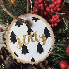 Each wood slice ornament is unique in shape and size. Most ornaments are between 3-4