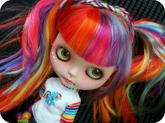 Rainbow Love.  Blythe Faceup by Cocochoo  Blythe Rainbow Reroot by Milky Robot   Together = Rainbow Awesomeness