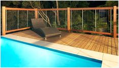 sentrel balustrades - Cable/Wood railing, could be double stacked for pool fence Fence Around Pool, Pool Fence, Swimming Pools Backyard, Pool Landscaping, Metal Pool, Garden Gates And Fencing, Balustrades, Stock Tank Pool, Pool Kits