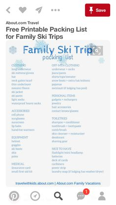 Ski Packing List  Travel List    Packing Checklist