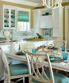 Turquoise beach theme kitchen that mimics the sea: http://www.completely-coastal.com/2016/05/turquoise-blue-white-beach-theme-kitchen.html
