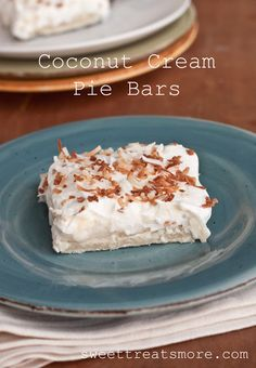 Sweet Treats and More: Coconut Cream Pie Bars-  great dessert for Thanksgiving! #recipe #dessert #thanksgiving