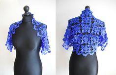 Hand crochet royal blue bolero size 10