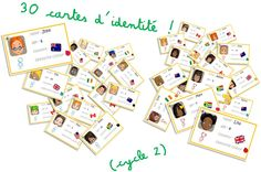 Games around identity cards to introduce yourself in English - Elau, English Lessons, Learn English, English Games, Languages Online, Foreign Languages, Craft Online, Classroom Language, School Games, Camping Gifts