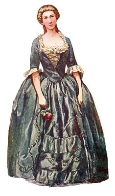 Colonial Clothing for Women | Colonial Clothes: Colonial Gown of Green Taffeta, circa 1740