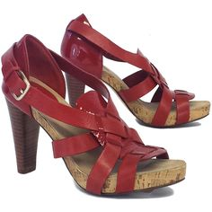 Pre-owned Cole Haan Red Leather Cork Sandal Heels ($69) ❤ liked on Polyvore