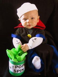 My adorable nephew in his awesome Baby Popeye Costume his mama made! Love this boy!