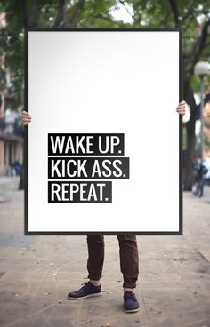 """Typography Poster Motivational Print """"Wake Up, Kick Ass, Repeat"""" Printable Art Black and White Inspiration Quote Wall Art *DIGITAL DOWNLOAD* door ArtCoStore op Etsy https://www.etsy.com/nl/listing/241747656/typography-poster-motivational-print"""