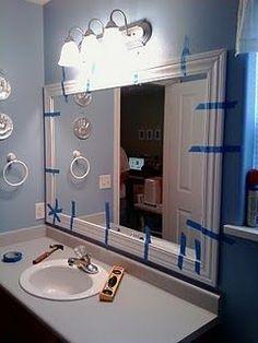 How to frame a bathroom mirror bathroom mirrors tutorials and easy framed bathroom mirror framing bathroom mirrorsdiy solutioingenieria Images