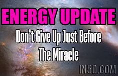 by Anastacia, Australian Correspondent, In5D.com Energies pushing 'old ways' and addictions up that feel 'real' and current/Don't give up just before the 'miracl…