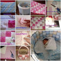 DIY Patchwork Baby Sleeping Basket Bumper