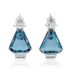 #AGTASpectrum18 winning showcase with the WJA Gem DIVA™ winners, sponsored by Women's Jewelry Association: 🏆 Bridal Wear: Beatrix-Laura Jessner, B & W Jewels - Platinum earrings featuring triangular Aquamarines (7.37 ctw.) accented with trapezoid and shield-cut Diamonds (3.47 ctw.). 🏆 Business and Day Wear: Belle Brooke Barer, Belle Brooke - 18K royal yellow gold pendant featuring a 3.74 ct. pear-shaped indicolite Tourmaline accented with Diamonds (.18 ctw.). 🏆 Classical: Linds Bling Jewelry, Jewelry Art, Gemstone Jewelry, Vintage Jewelry, Platinum Earrings, Art Nouveau Jewelry, India Jewelry, Simple Jewelry, Diamond Cuts