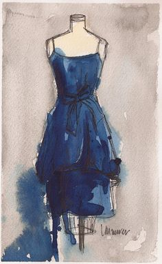 Vintage Dress Painting - Watercolor and Ink Painting - Vintage Blue Dress II - 8x5 -. $50.00, via Etsy.
