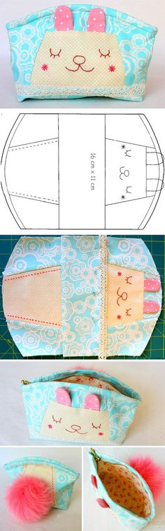 How to make tutorial vintage cosmetic bag coin. DIY Pattern & Tutorial in Pictures.  http://www.handmadiya.com/2015/10/sleeping-bunny-pouch-tutorial.html